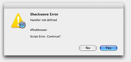 More detailed shockwave error message