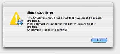 Typical Shockwave error message
