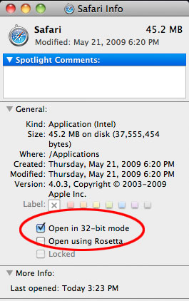 Safari in 32-bit mode